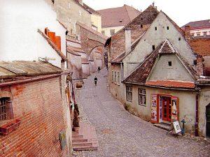 stradă pietruită și clădiri din cărămidă